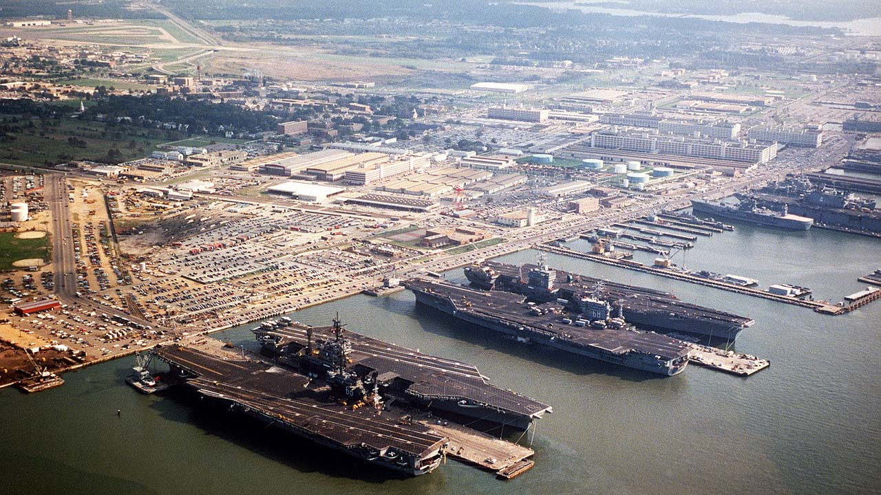 Photo via U.S. Navy. Naval Station Norfolk in 1985.