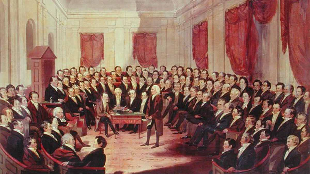Painting by George Catlin (1796–1872). The Virginia Constitutional Convention.  The General Assembly has set a few specific rules about what the government can and can't do during a state of emergency.