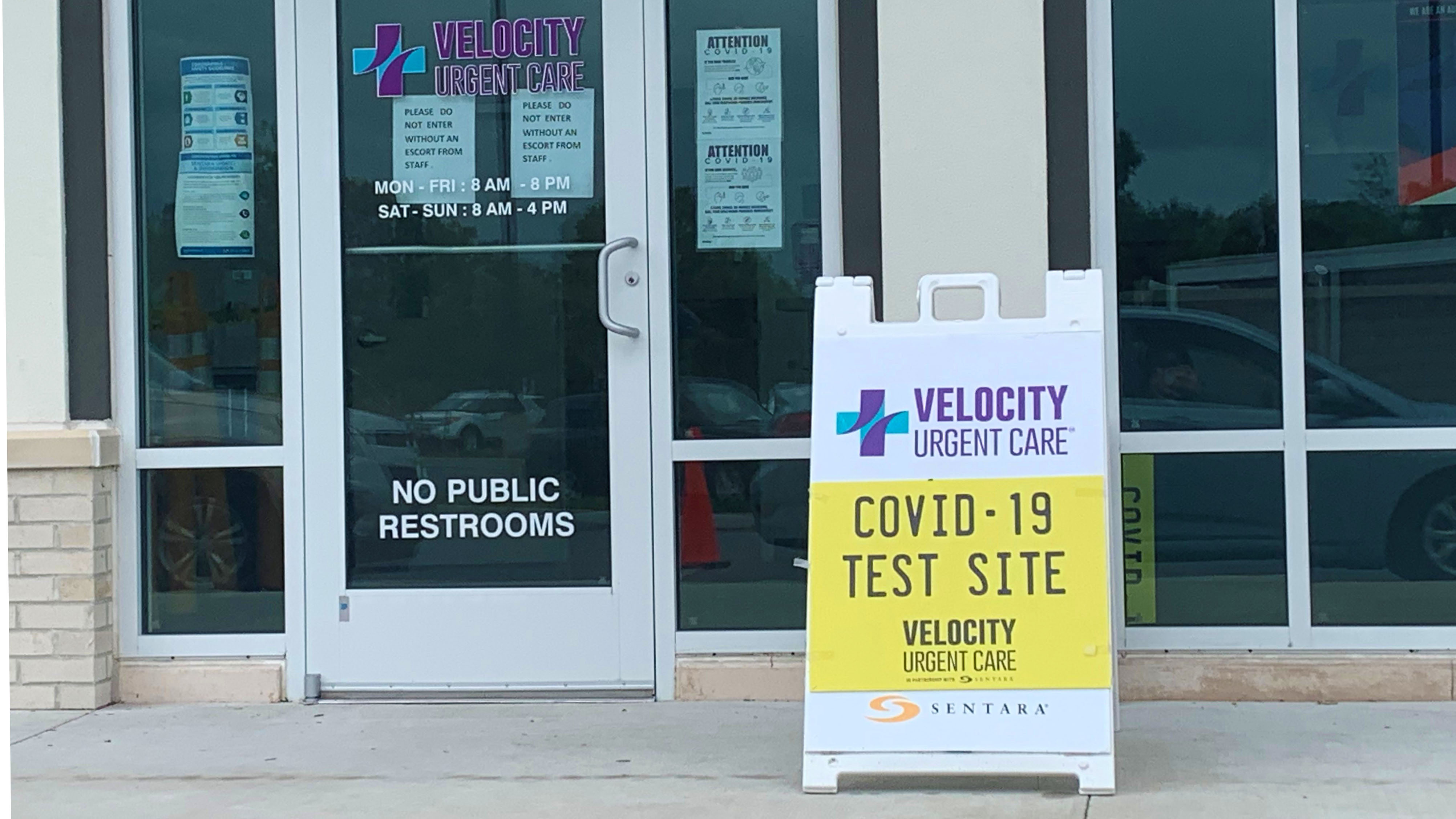 Photo by Mechelle Hankerson. Velocity Urgent Care is one of dozens of places people can get tested for COVID-19. Some places, like Velocity, can also test for antibodies.