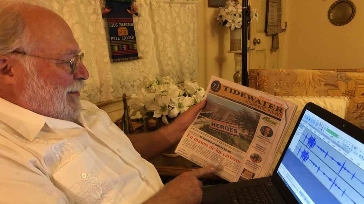 The WHRO Voice volunteer John Major reads Tidewater Hispanic News.